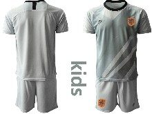 Youth Soccer Holland Ntaional Team ( Custom Made ) Gray 2020 European Cup Goalkeeper Short Sleeve Suit Jersey