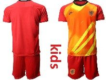 Youth Soccer Holland Ntaional Team ( Custom Made ) Red 2020 European Cup Goalkeeper Short Sleeve Suit Jersey