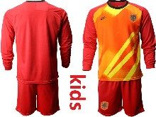 Youth Soccer Holland Ntaional Team ( Custom Made ) Red 2020 European Cup Goalkeeper Long Sleeve Suit Jersey