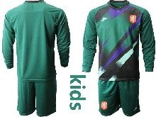 Youth Soccer Holland Ntaional Team ( Custom Made ) Green 2020 European Cup Goalkeeper Long Sleeve Suit Jersey