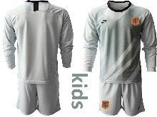 Kids Soccer Holland Ntaional Team ( Custom Made ) Gray 2020 European Cup Goalkeeper Long Sleeve Suit Jersey