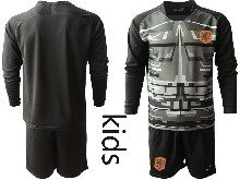Youth Soccer Holland Ntaional Team ( Custom Made ) Black 2020 European Cup Goalkeeper Long Sleeve Suit Jersey