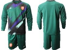 Mens Soccer Holland Ntaional Team ( Custom Made ) Green 2020 European Cup Goalkeeper Long Sleeve Suit Jersey