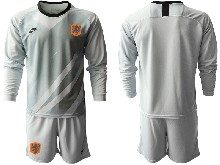 Mens Soccer Holland Ntaional Team ( Custom Made ) Gray 2020 European Cup Goalkeeper Long Sleeve Suit Jersey