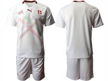Mens Soccer Switzerland National Team ( Custom Made ) White 2020 European Cup Away Short Sleeve Suit Jersey