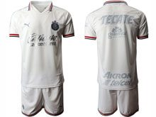 Mens 20-21 Soccer Deportivo Guadalajara Club ( Custom Made ) White Away Short Sleeve Suit Jersey
