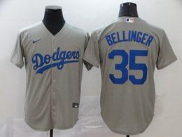 Mens Mlb Los Angeles Dodgers #35 Cody Bellinger Gray Cool Base Nike Jersey