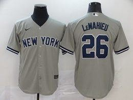Mens Mlb New York Yankees #26 Dj Lemahieu Gray Cool Base Nike Jersey