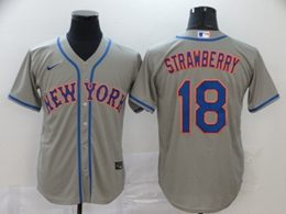 Mens Mlb New York Mets #18 Darryl Strawberry Gray Cool Base Nike Jersey