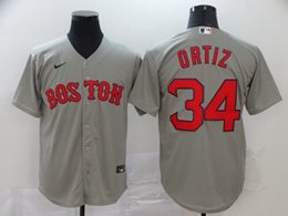 Mens Mlb Boston Red Sox #34 David Ortiz Gray Cool Base Nike Jersey