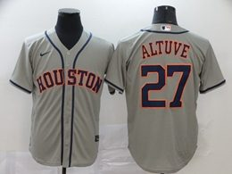 Mens Mlb Houston Astros #27 Jose Altuve Gray Cool Base Nike Jersey