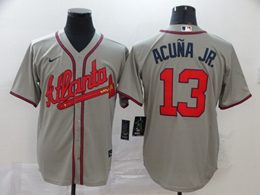 Mens Mlb Atlanta Braves #13 Ronald Acuna Jr. Gray Cool Base Nike Jersey