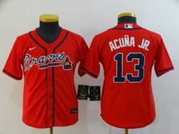 Women Youth Mlb Atlanta Braves #13 Ronald Acuna Jr. Red Cool Base Nike Jersey