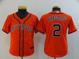 Women Youth Mlb Houston Astros #2 Alex Bregman Orange Cool Base Nike Jersey