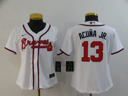 Women Youth Mlb Atlanta Braves #13 Ronald Acuna Jr. White Cool Base Nike Jersey