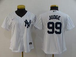 Women Youth Mlb New York Yankees #99 Aaron Judge White Black Stripe Cool Base Nike Jersey
