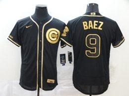 Mens Mlb Chicago Cubs #9 Javier Baez Black Throwbacks Golden Flex Base Nike Jersey