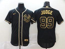 Mens Mlb New York Yankees #99 Aaron Judge Black Throwbacks Golden Flex Base Nike Jersey