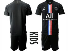 Youth 19-20 Soccer Paris Saint Germain Current Player Black Third Away Short Sleeve Suit Jersey