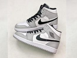 Men And Women Nike Air Jordan 1 Mi Basketball Shoes Black&gray Color