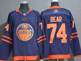 Mens Nhl Edmonton Oilers #74 Ethan Bear Dark Blue Adidas 50th Jersey