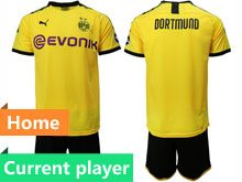 Mens 19-20 Soccer Borussia Dortmund Club Current Player Yellow Home Short Sleeve Suit Jersey