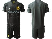 Mens 19-20 Soccer Borussia Dortmund Club ( Custom Made ) Black Away Short Sleeve Suit Jersey
