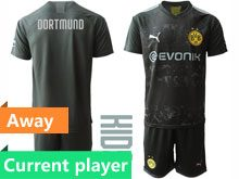 Youth 19-20 Soccer Borussia Dortmund Club Current Player Black Away Short Sleeve Suit Jersey