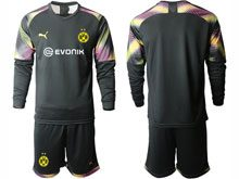 Mens 19-20 Soccer Borussia Dortmund Club ( Custom Made ) Black Goalkeeper Short Sleeve Suit Jersey