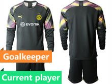 Mens 19-20 Soccer Borussia Dortmund Club Current Player Black Goalkeeper Short Sleeve Suit Jersey