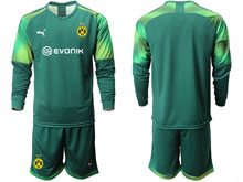 Mens 19-20 Soccer Borussia Dortmund Club ( Custom Made ) Dark Green Goalkeeper Short Sleeve Suit Jersey