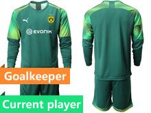 Mens 19-20 Soccer Borussia Dortmund Club Current Player Dark Green Goalkeeper Short Sleeve Suit Jersey