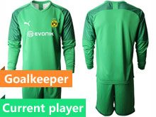 Mens 19-20 Soccer Borussia Dortmund Club Current Player Green Goalkeeper Short Sleeve Suit Jersey