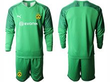 Mens 19-20 Soccer Borussia Dortmund Club ( Custom Made ) Green Goalkeeper Short Sleeve Suit Jersey