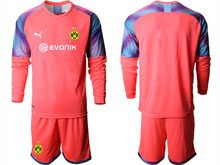 Mens 19-20 Soccer Borussia Dortmund Club ( Custom Made ) Red Goalkeeper Short Sleeve Suit Jersey