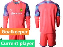Mens 19-20 Soccer Borussia Dortmund Club Current Player Red Goalkeeper Short Sleeve Suit Jersey
