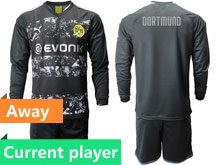 Mens 19-20 Soccer Borussia Dortmund Club Current Player Black Away Short Sleeve Suit Jersey
