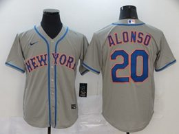 Mens Mlb New York Mets #20 Pete Alonso Gray Cool Base Nike Jersey