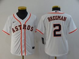 Women Youth Mlb Houston Astros #2 Alex Bregman White Cool Base Nike Jersey