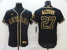 Mens Mlb Houston Astros #27 Jose Altuve Black Throwbacks Golden Flex Base Nike Jersey