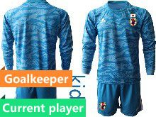 Youth 19-20 Soccer Japan Club Current Player Blue Goalkeeper Long Sleeve Suit Jersey