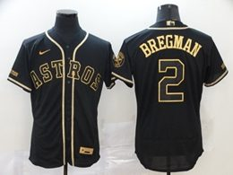 Mens Mlb Houston Astros #2 Alex Bregman Black Throwbacks Golden Flex Base Nike Jersey