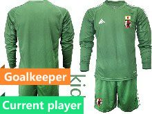 Youth 19-20 Soccer Japan Club Current Player Dark Green Goalkeeper Long Sleeve Suit Jersey
