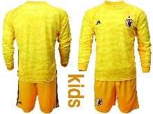 Youth 19-20 Soccer Japan Club Custom Made Yellow Goalkeeper Long Sleeve Suit Jersey
