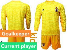 Youth 19-20 Soccer Japan Club Current Player Yellow Goalkeeper Long Sleeve Suit Jersey