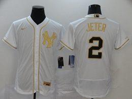 Mens Mlb New York Yankees #2 Derek Jeter White Throwbacks Golden Flex Base Nike Jersey