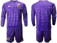 Mens 19-20 Soccer Japan Club Custom Made Purple Goalkeeper Long Sleeve Suit Jersey