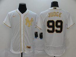 Mens Mlb New York Yankees #99 Aaron Judge White Throwbacks Golden Flex Base Nike Jersey
