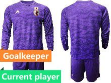 Mens 19-20 Soccer Japan Club Current Player Purple Goalkeeper Long Sleeve Suit Jersey