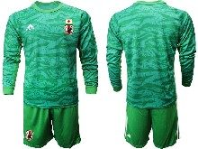 Mens 19-20 Soccer Japan Club Custom Made Green Goalkeeper Long Sleeve Suit Jersey